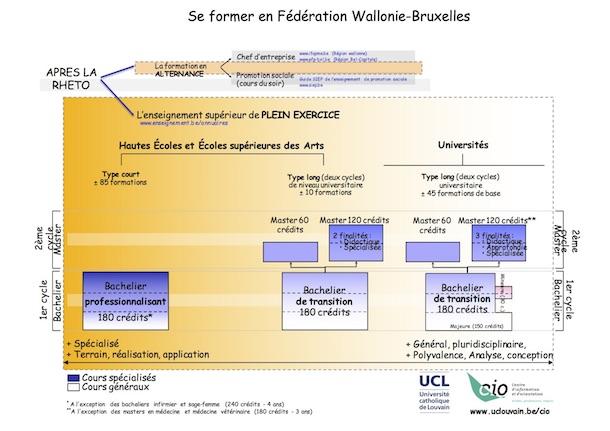 Structure des études supérieures en Fédération Wallonie-Bruxelles